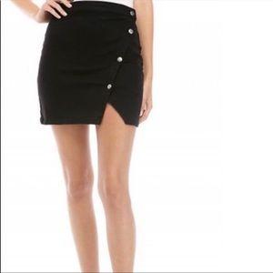 New Free People Notched Denim Mini Skirt Black 12